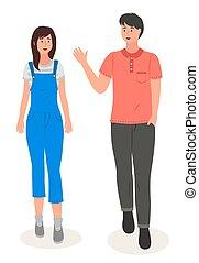 ember, kéz, nadrág, leány, pasas, női, overall, young párosít, hullámzás, fárasztó, póló, meglehetősen