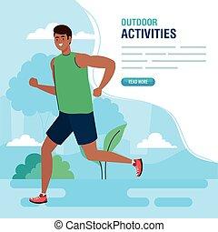 ember, külső, gyakorlás, afrikai származású, outdoor pihenés, elfoglaltságok, transzparens, sport, futás