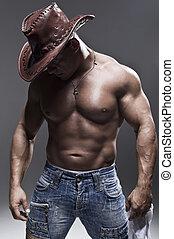 ember, kalap, erős, cowboy