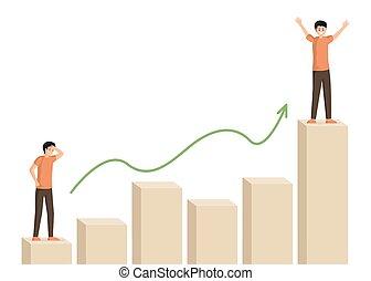 ember, kezdet, karrier, illustration., maga, hím, ügy, személyes, ladder., vektor, motiváció, ábra, stratégia, tető, betű, bár, siker, üzletember, növekedés, mászó, javítás