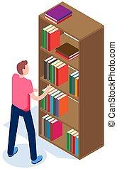 ember, ki, chooses, pasas, könyvtár, diák, illustration., vektor, könyv, magazin, megránt, bookshelf.