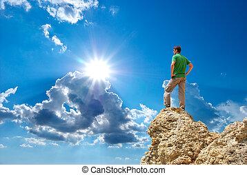 ember, mountain., csúcs