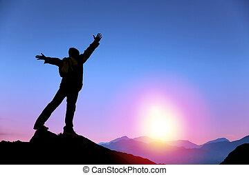 ember, napkelte, hegy, karóra van, tető, fiatal