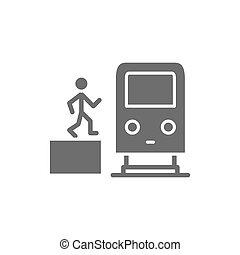ember, szürke, subway kíséret, metró, tehervagon, állomás, emelvény, icon.