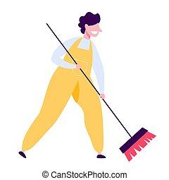 ember, takarítás, egyenruha, seprű, emelet
