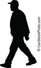 ember, vektor, gyalogló, árnykép