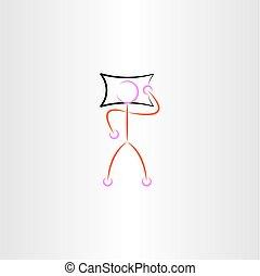ember, vektor, vánkos, ábra, alvás