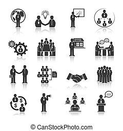 emberek, állhatatos, gyűlés, ügy icons