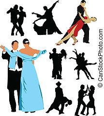 emberek, árnykép, desi, tánc
