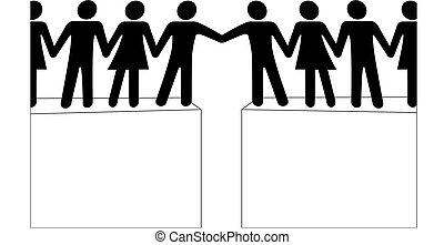 emberek, összekapcsol, csatlakozik, elér, együtt, alakzat