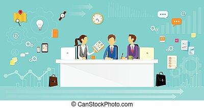 emberek ügy, ülés, hivatal, csoport, íróasztal, lakás