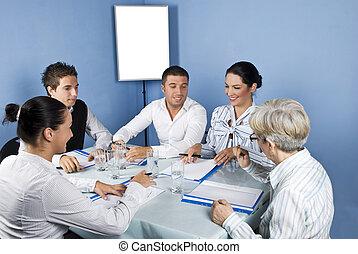 emberek ügy, asztal, mindenfelé, gyűlés