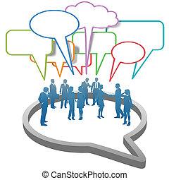 emberek ügy, buborék, hálózat, belső, társadalmi, beszéd