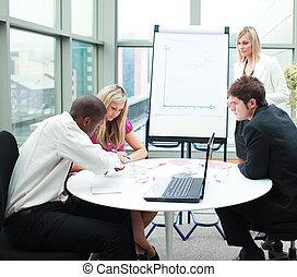 emberek ügy, dolgozó, gyűlés, együtt