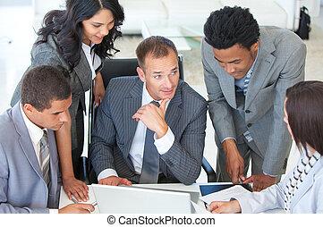 emberek ügy, dolgozó, multi-ethnic, terv, együtt