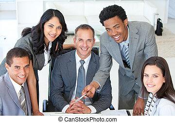 emberek ügy, dolgozó, terv, együtt