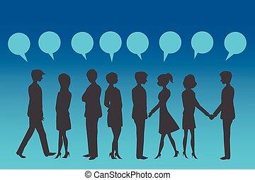 emberek ügy, körvonal, kék, bubble., beszéd