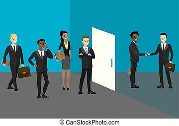 emberek ügy, várakozás, hivatal, gyűlés