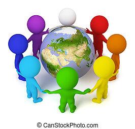 emberek, béke, -, kicsi, földdel feltölt, 3