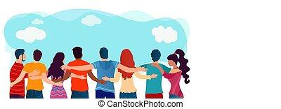 emberek, barátok, multiethnic, kommunikáció, társadalmi, dialogue., átölelt, diversity., barátság, network., diákok, teamwork., együttműködés, community., csoport, organization., united.