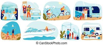 emberek, betűk, repülőgép, nő, autóbusz, idegenforgalom, ábra, karikatúra, lakás, autó, kiképez, hajó, vektor, utazás, vagy, természetjáró, utazó, állhatatos, ember