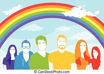 emberek, buzi, ugyanaz, nők, leszbikus, szex, ember, csoport