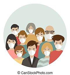 emberek, covid, white., korona, elszigetelt, karika, oltalmaz, csoport, masks., fárasztó, 19