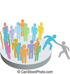 emberek, csatlakozik, felszolgál, személy, tagok, csoport, társaság, pártfogó