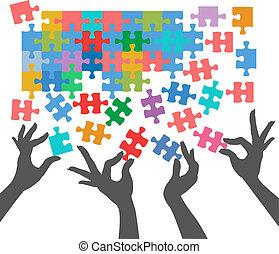 emberek, csatlakozik, rejtvény, talál, kapcsolatok