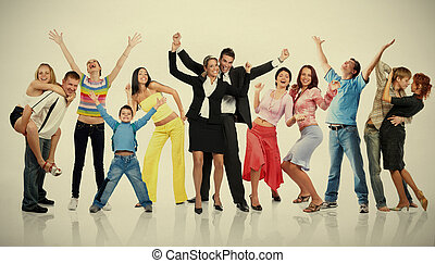 emberek., csoport, boldog