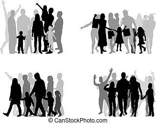 emberek., csoport, körvonal, család