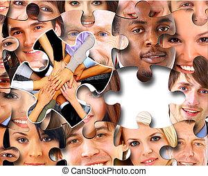 emberek, darabok, ügy, rejtvény, csoport