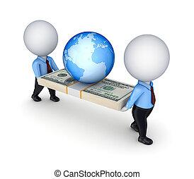 emberek, dollár, kicsi, 3, earth., konzervál