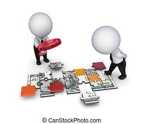 emberek, dollár, puzzles., elkészített, lupe, 3