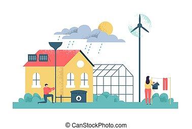 emberek, eco, épület, zöld, fenntartható, barátságos