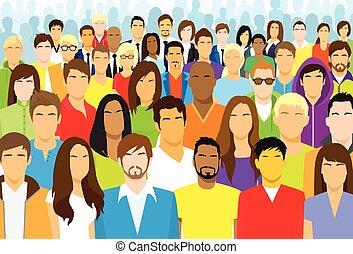 emberek, etnikai, tolong, kényelmes, arc, csoport, különböző, nagy