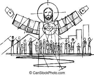emberek, fegyver nyílik, krisztus, ábra, jézus
