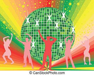 emberek, fiatal, tánc