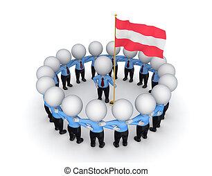 emberek, flag., amerikai, mindenfelé, 3, kicsi