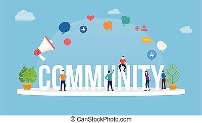 emberek, fogalom, ikon, modern, vektor, mód, nagy, mindenfelé, szöveg, közösség, -