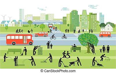 emberek, forgalom, city.eps
