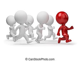 emberek, -, futás, kicsi, vezető, 3