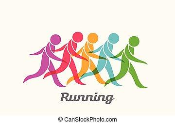 emberek, futás, vektor, jel, activity., sport