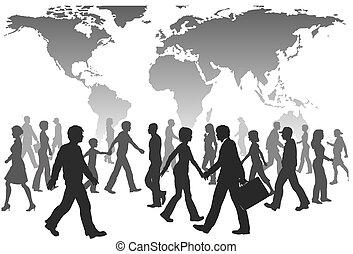 emberek, globális, jár, körvonal, világ, lakosság