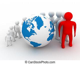 emberek, image., álló, csoport, globe., kerek, 3