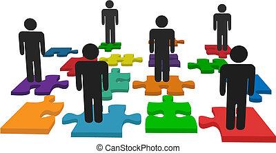 emberek, jelkép, jigsaw munkadarab, áll, befog, rejtvény
