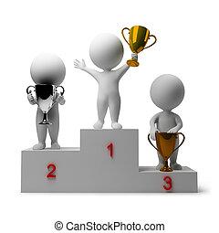 emberek, -, jutalmazó, winners, kicsi, 3