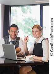 emberek, kávéház, ügy, munka