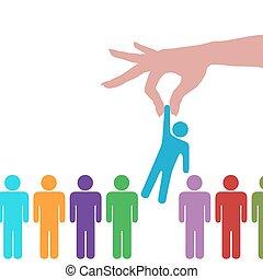 emberek, kéz, személy, egyenes, talál, választ