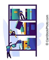emberek, könyvtár, tervezés, stack., értesülés, tanulás, könyv, könyvesbolt, lakás, irodalom, kipiheni magát, shelf., ábra, könyvszekrény, könyvespolc, karikatúra, ember, collection., egyetem, elméleti, magazin, vektor
